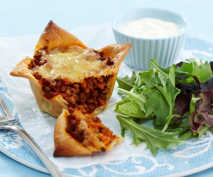 Cheesy lentil pies
