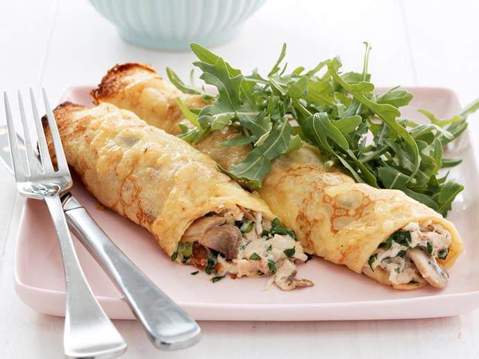 """**[Chicken and mushroom crepes](https://www.womensweeklyfood.com.au/recipes/chicken-and-mushroom-crepes-18952