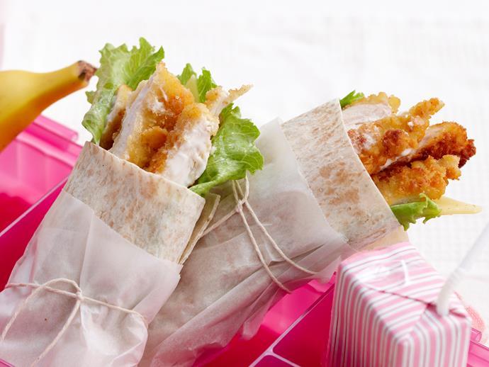 "**[Chicken schnitzel wraps](https://www.womensweeklyfood.com.au/recipes/chicken-schnitzel-wraps-18973|target=""_blank"")**"