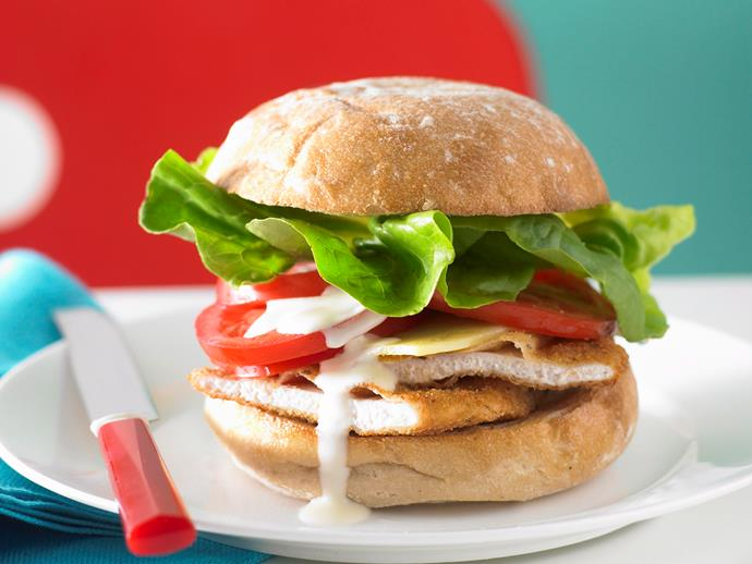 """**[Chicken schnitzel burger](https://www.womensweeklyfood.com.au/recipes/chicken-schnitzel-burger-25868
