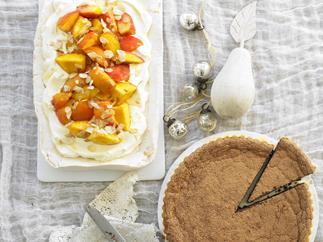 Chocolate tart, Summer pavlova