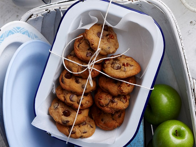 Chunky pecan and choc chip cookies