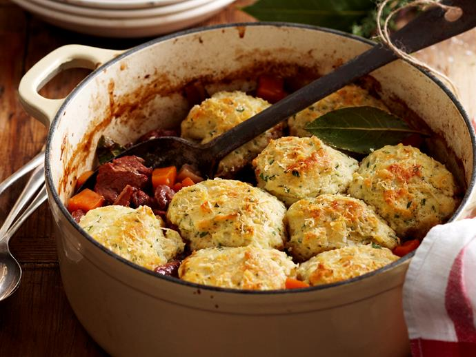 """**[Classic beef stew with dumplings](https://www.womensweeklyfood.com.au/recipes/classic-beef-stew-with-dumplings-19053