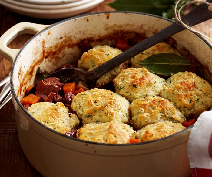 Classic beef stew with dumplings