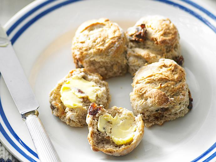"**[Date scones](https://www.womensweeklyfood.com.au/recipes/date-scones-8312|target=""_blank"")**  These light, fluffy scones with the added sweetness of dates are perfect for a morning or afternoon snack."
