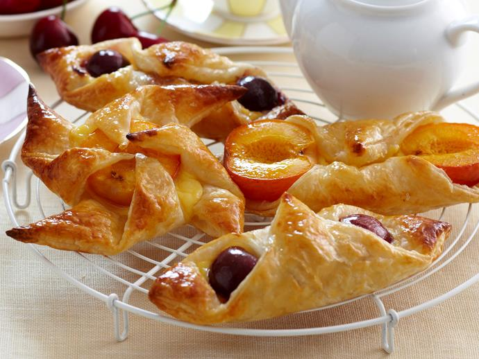 """Sweet and fruity, these apricot and cherry [Danish pastries](https://www.womensweeklyfood.com.au/recipes/easy-danish-pastries-18558