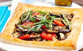 Eggplant, tomato and zucchini slice
