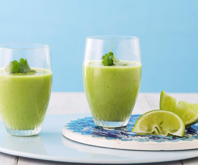 Iced avocado soup with cucumber and coriander