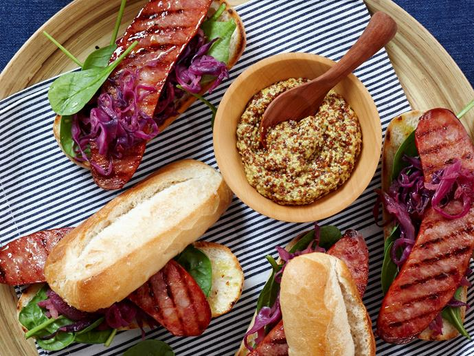 "The classic Slovenian style sausage is at its best when char-grilled and smothered in freshly made sauerkraut. You'll love these [kransky hot dogs](https://www.womensweeklyfood.com.au/recipes/kransky-hot-dogs-18706|target=""_blank"") on fresh, crispy rolls."