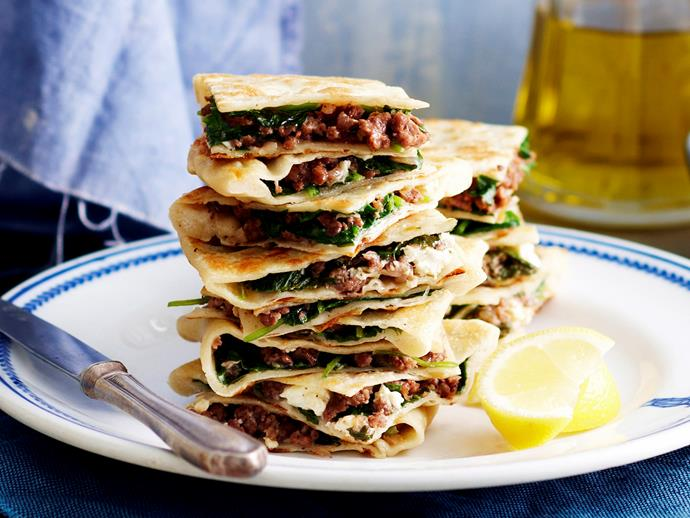 "**[Lamb and spinach gozleme](https://www.womensweeklyfood.com.au/recipes/lamb-and-spinach-gozleme-18710|target=""_blank"")**"