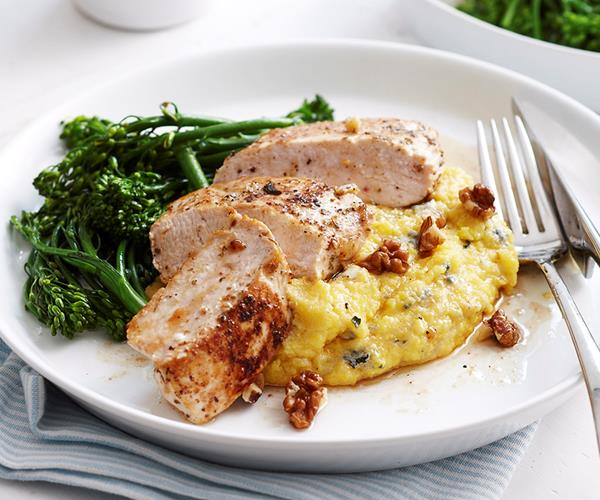 Lemon Thyme Chicken With Blue Cheese Polenta Recipe