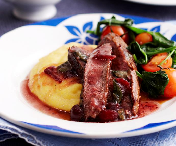 Marinated lamb fillets on creamy polenta