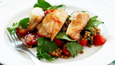 Marmalade chicken with lentil salad