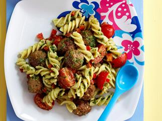Meatball and pasta salad