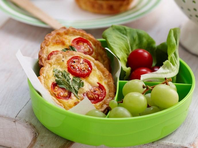 Mini tomato and cheese quiches