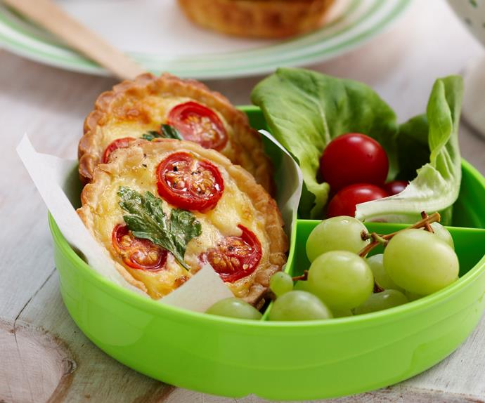 Mini tomato and cheese quiches