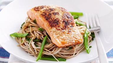 Miso and sesame salmon with soba noodles