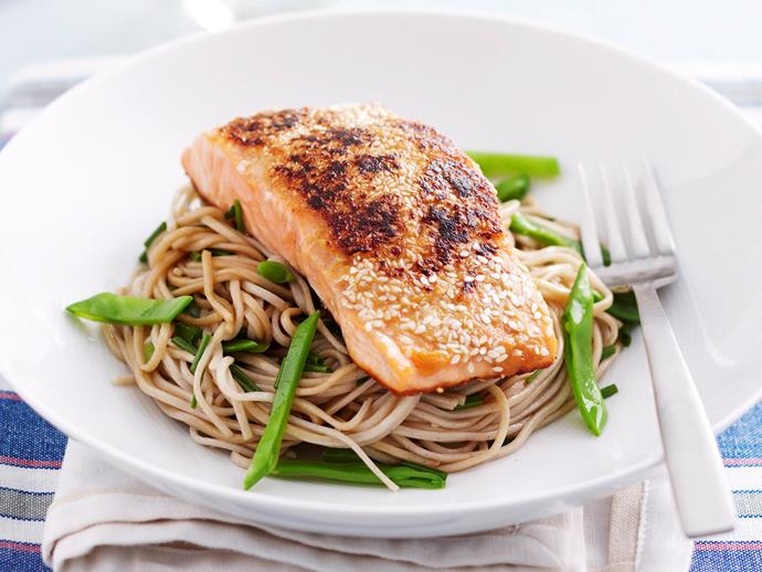 "**[Miso and sesame salmon with soba noodles](https://www.womensweeklyfood.com.au/recipes/miso-and-sesame-salmon-with-soba-noodles-18804|target=""_blank"")**"