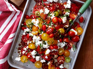 Mixed tomato salad with pomegranate dressing