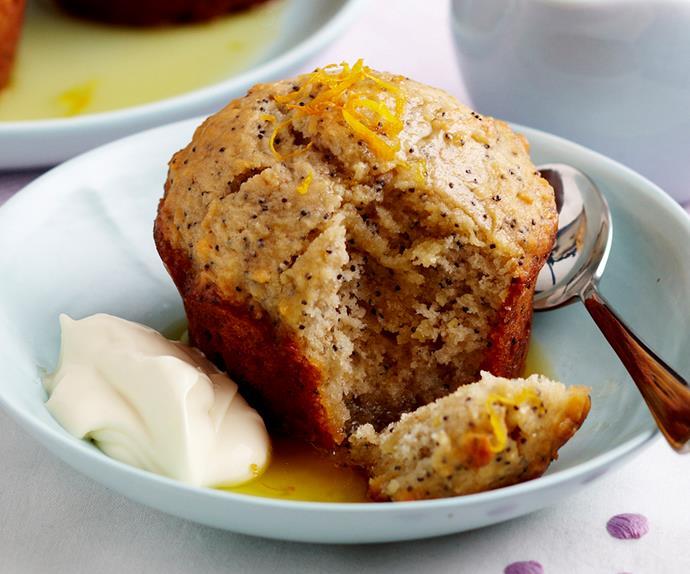 orange and poppyseed syrup cakes