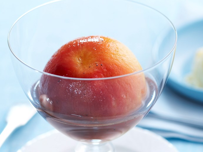 **20 minutes**. [Peaches with vanilla syrup via Food To Love](http://www.foodtolove.com.au/recipes/peaches-with-vanilla-syrup-5518).