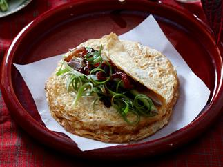 Peking duck omelettes