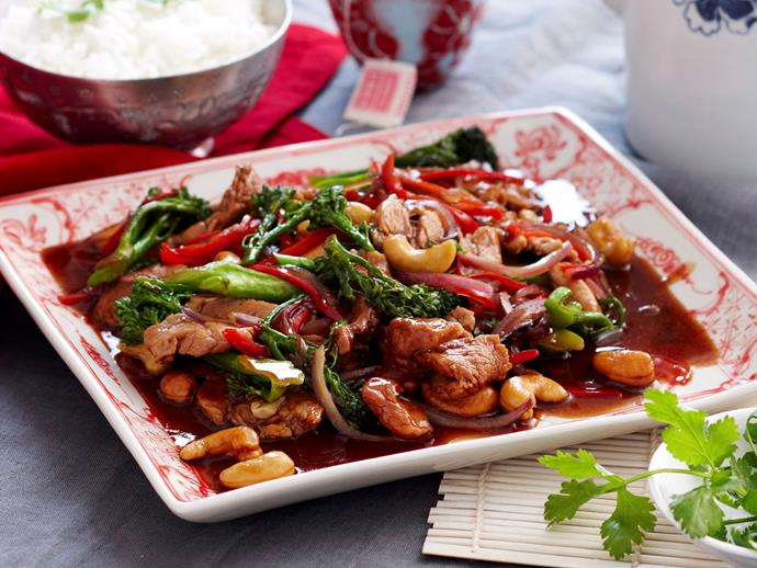 """**[Pork with broccolini and oyster sauce](https://www.womensweeklyfood.com.au/recipes/pork-with-broccolini-and-oyster-sauce-15662