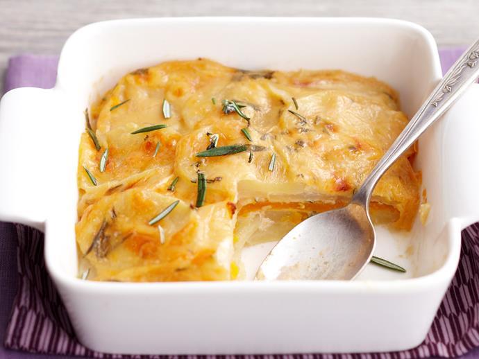"**[Creamy rosemary potato and pumpkin bake](https://www.womensweeklyfood.com.au/recipes/creamy-rosemary-potato-and-pumpkin-bake-18350|target=""_blank"")**"