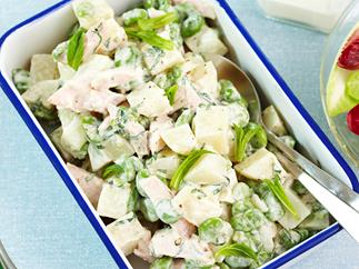 Potato, broad bean and smoked chicken salad