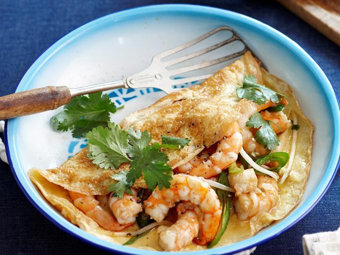 "**[Prawn omelette](https://www.womensweeklyfood.com.au/recipes/prawn-omelette-18361 target=""_blank"")**"