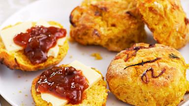 Pumpkin and caramelised onion scones