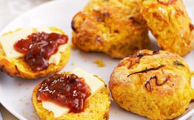 Pumpkin and caramelised onion scones