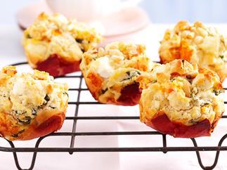 Pumpkin, feta and pine nut muffins