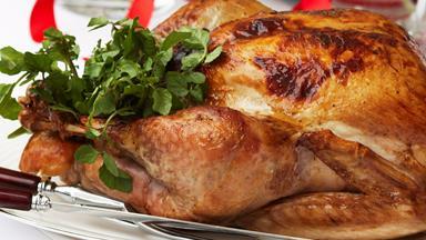 Roast turkey with pancetta and macadamia stuffing
