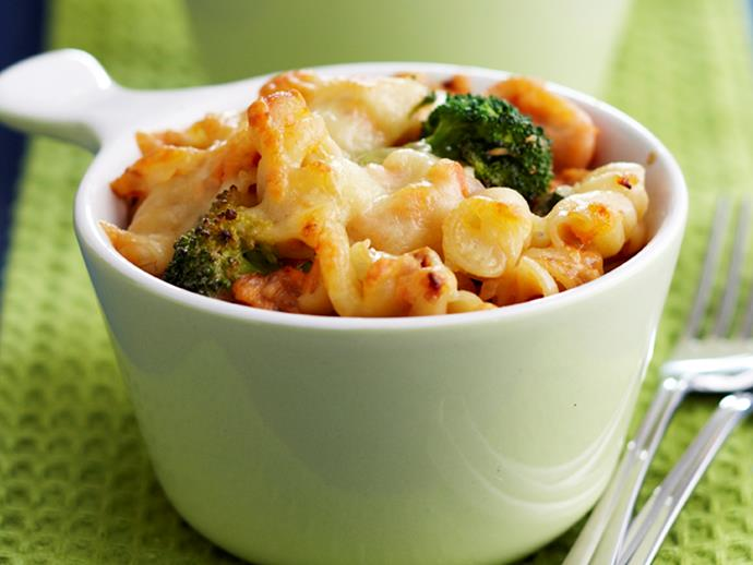 """**[Salmon and broccoli pasta bake](https://www.womensweeklyfood.com.au/recipes/salmon-and-broccoli-pasta-bake-25935