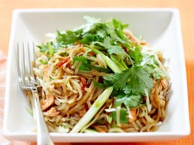 Salmon and teriyaki noodle salad