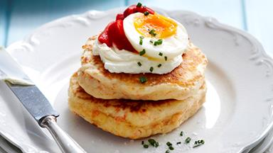 Salmon blini with egg