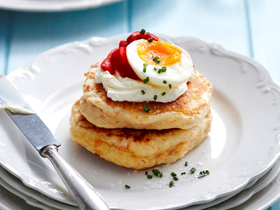 "**[Salmon blini with egg](https://www.womensweeklyfood.com.au/recipes/salmon-blini-with-egg-27607|target=""_blank"")** <br><br> Traditionally, blinis are small Russian pancakes. Salmon and cream cheese make up the filling for this contemporary version. Served as finger food at your next party it is sure to be a crowd pleaser."