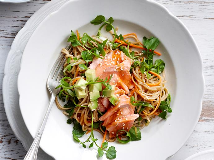 """**[Salmon fillets with soba noodle salad](https://www.womensweeklyfood.com.au/recipes/salmon-fillets-with-soba-noodle-salad-25936