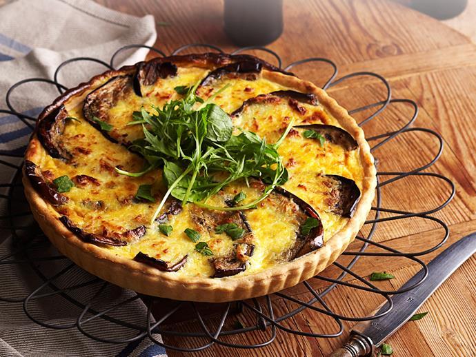 "This delicious [vegetarian quiche](https://www.womensweeklyfood.com.au/recipes/savoury-eggplant-and-haloumi-quiche-18468|target=""_blank"") is packed full of flavour from the salty haloumi, hearty eggplant and divine golden crust. Cut yourself a slice and enjoy warm or cool."