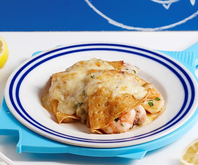 Seafood mornay crepes