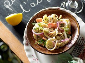 Smoked trout and fennel fettucine