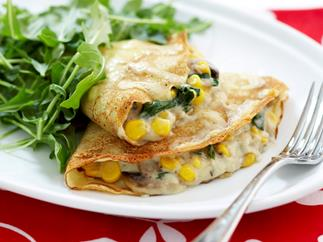 Spinach and corn crepes