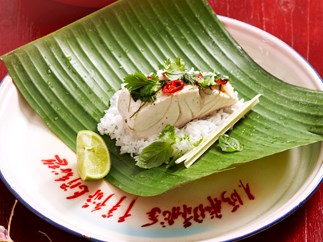 steamed fish and rice parcels