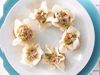 Steamed pork and noodle dumplings