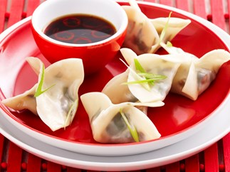 steamed spinach and shitake dumplings
