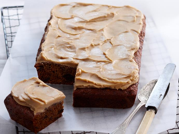 "**[Sticky date slice](https://www.womensweeklyfood.com.au/recipes/sticky-date-slice-17975|target=""_blank"")**  Slathered with thick and sweet caramel icing, this slice rich and delicious afternoon treat to be savoured slowly."
