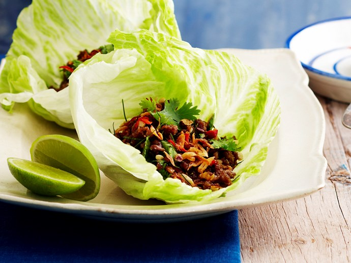 sweet chilli pork in lettuce cups