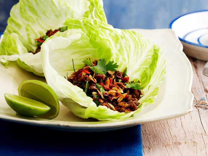 Sweet chilli pork in lettuce cups.