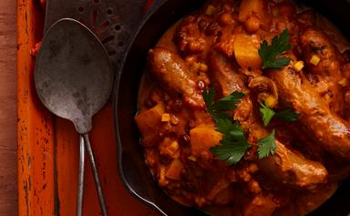 Sweet curried sausages